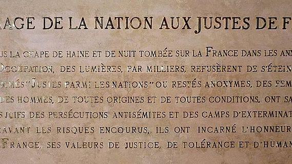 Inscription au Panthéon de Paris à la mémoire des Justes de france