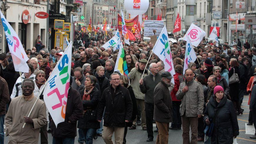 Manifestation contre la réforme des retraites à Reims le 29 octobre 2010