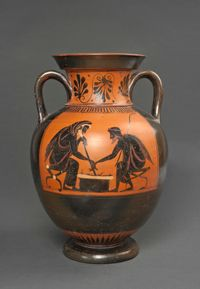 Amphore : deux hommes jouant face à face Vers 520-510 av. J.-C