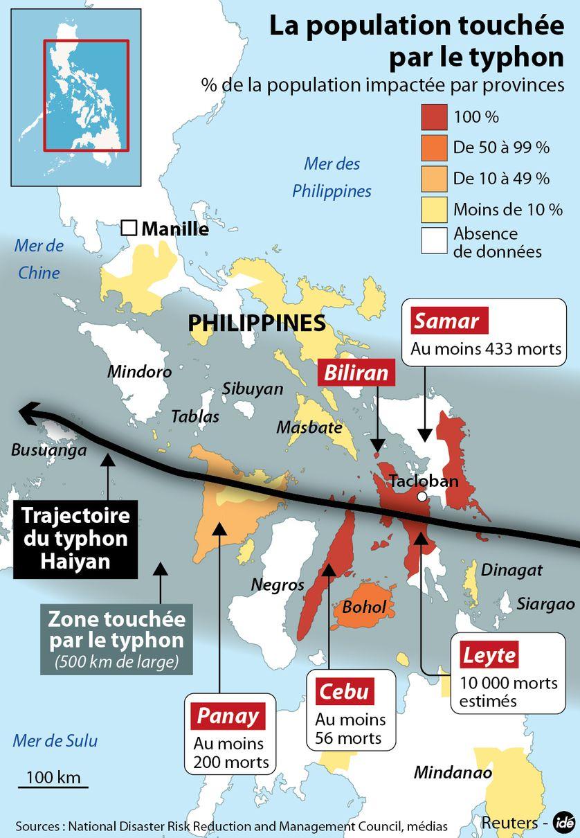 Typhon Haiyan : les zones les plus touchées aux Philippines