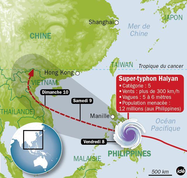 La trajectoire du typhon