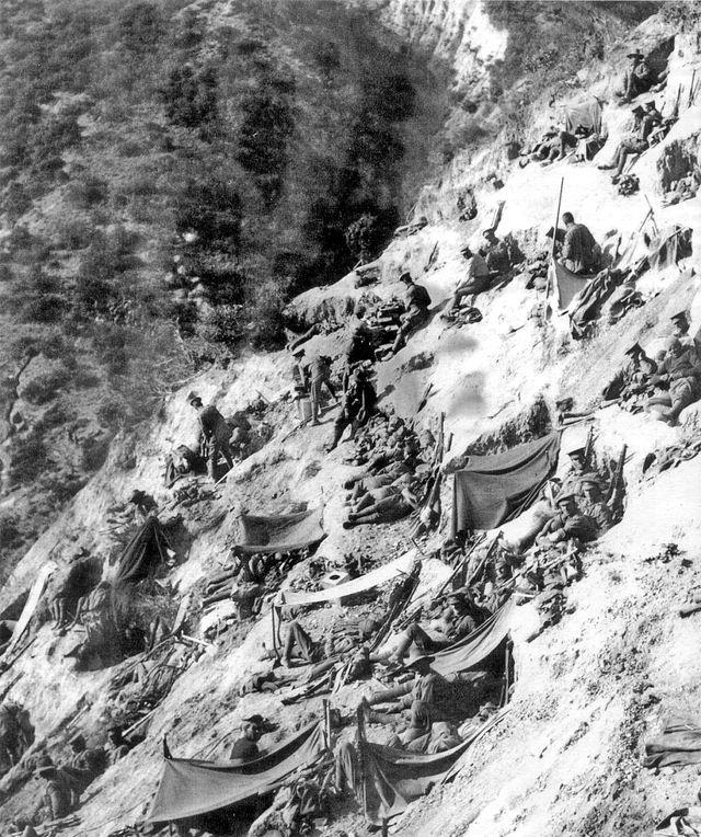 Soldats du 1er Bataillon Australien à Steele's Post le 3 mai 1915 durant la bataille de Gallipoli