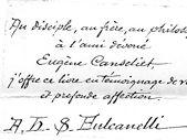 Dédicace à Eugène Canseliet signée Fulcanelli ( de la main de Julien Champagne)