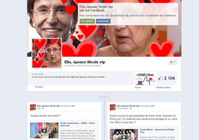 Page Facebook Elio, épouse Nicole stp
