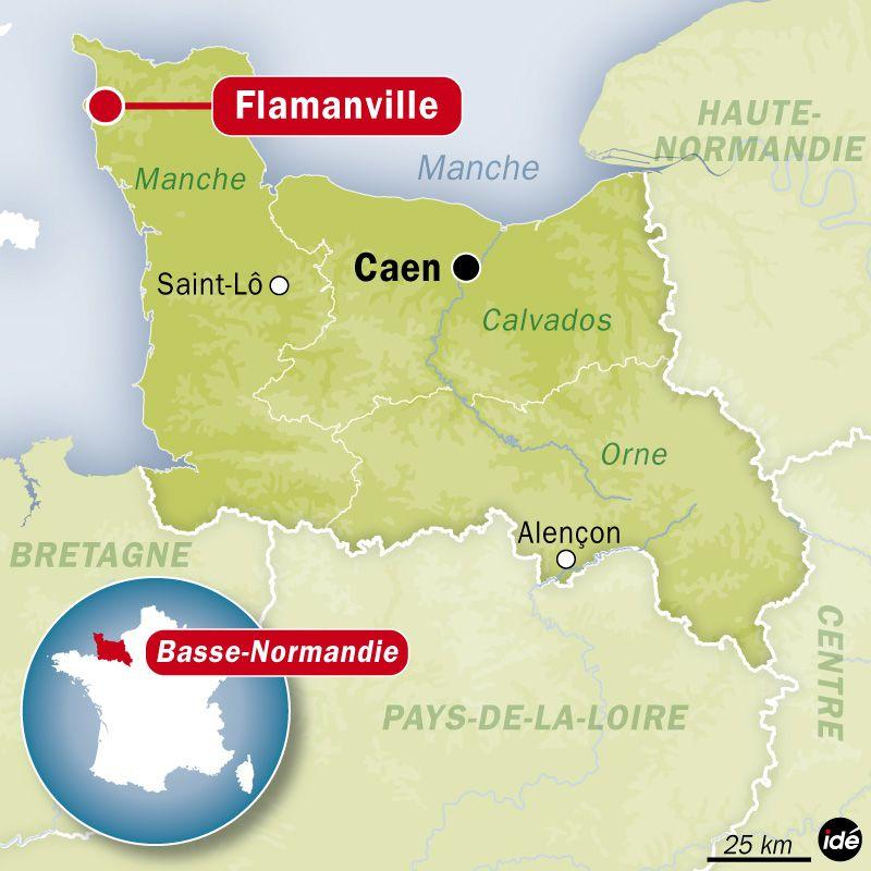 Carte de localisation de Flamanville (Manche).