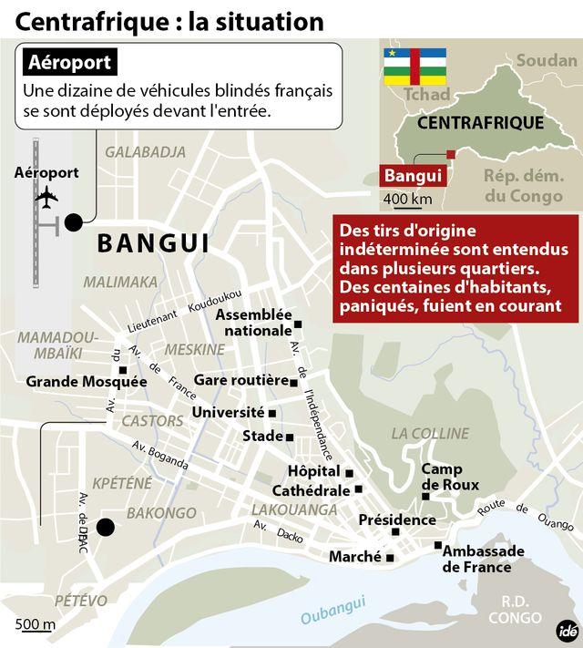Les troupes française dans Bangui