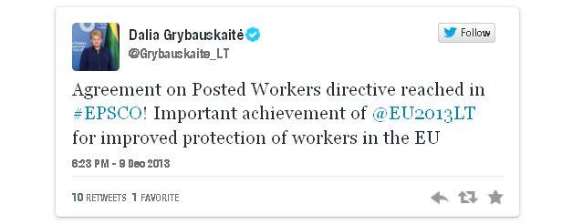Tweet Travailleurs détachés