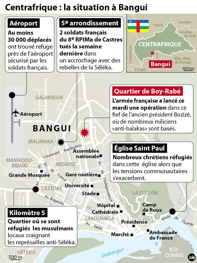 Infographie opération Sangaris nord de Bangui