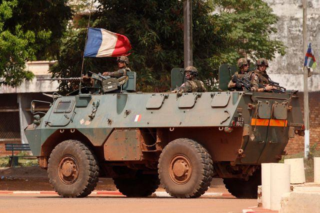 Une patrouille française à Bangui