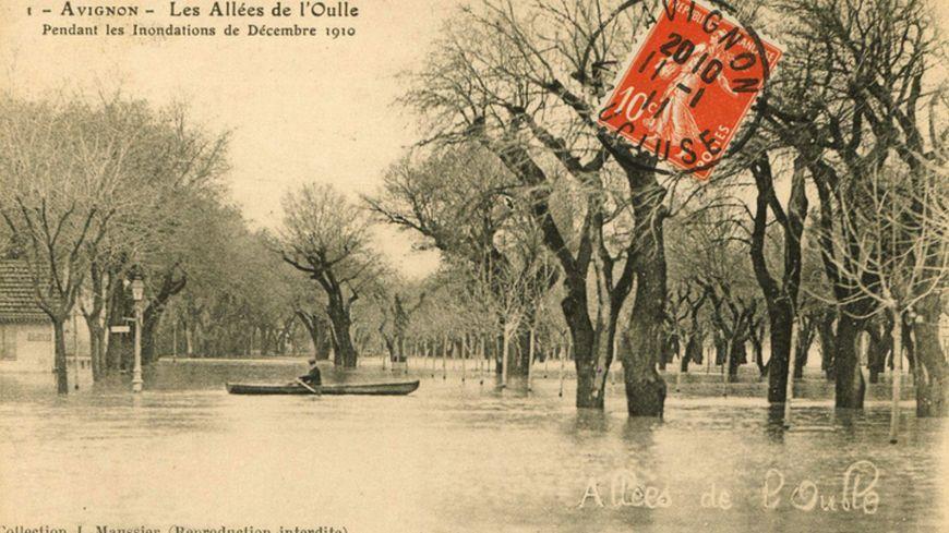 Avignon, allées de l'Oulle : inondations de 1910
