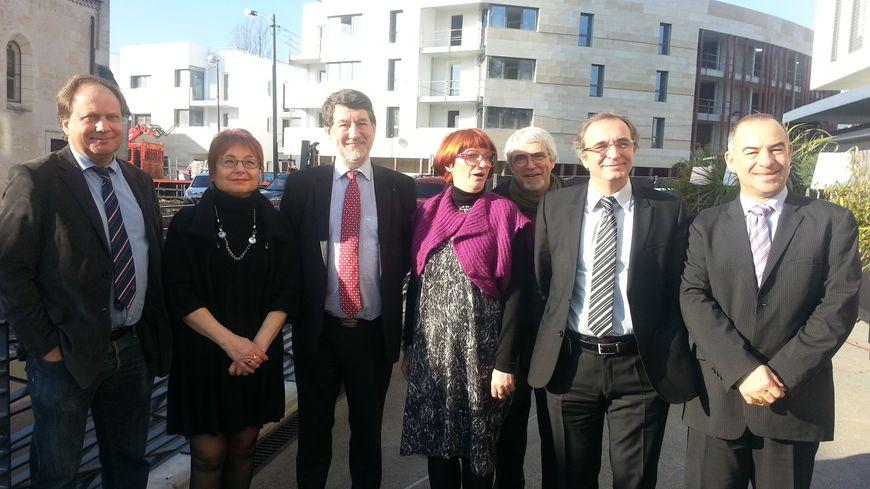 Alain Anziani et les représentants des différents partis de gauche à Mérignac