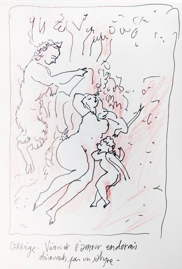 """""""Venus et l'amour endormis découverts par un satyre"""" du Corrège, croqué par Joann Sfar"""