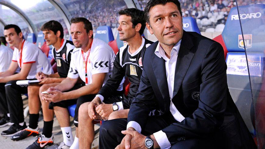 Hubert Fournier, entraîneur du Stade de Reims (lors d'un match des Rémois au stade Gerland à Lyon en août 2013).