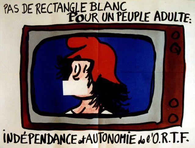 Affiche pour l'Intersyndicale de l'Office de radiodiffusion television francaise (ORTF) du dessinateur Jean Effel en mai 1968