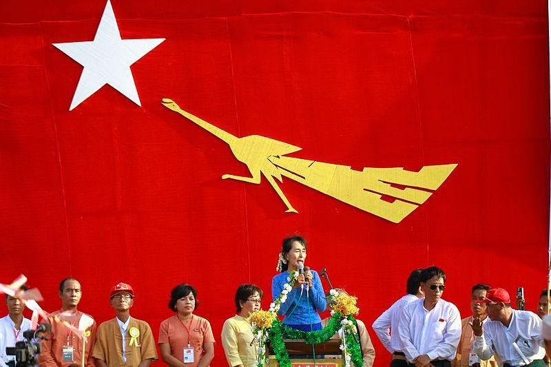 Aung San Suu Kyi, campagne électorale, Myanmar on 22 March 2012.