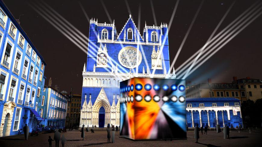 Cathédrale Saint-Jean - projet Rencontres - Lyon - Fête des Lumières 2013