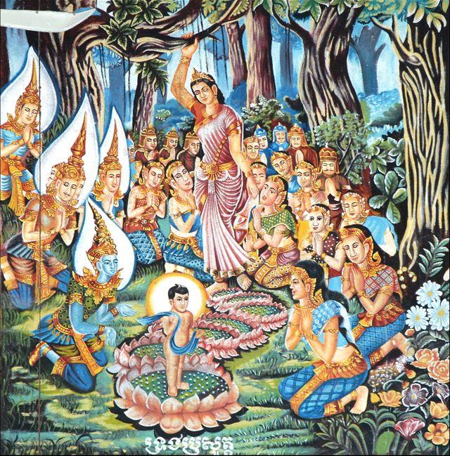 """Peinture murale sur """"La naissance du Bouddha"""" dans la salle de prière du Wat Thomit au Vietnam"""