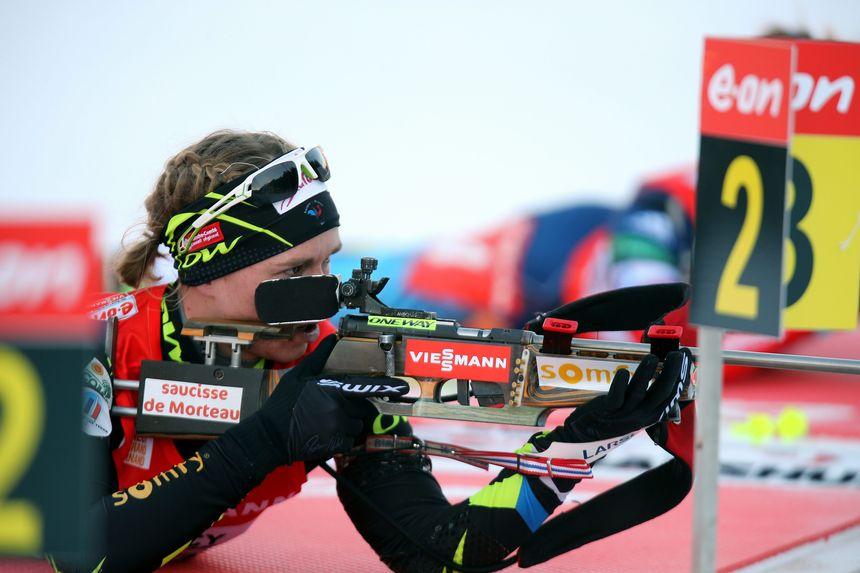 Coupe du monde de biathlon, Grand Bornand, 2013 relais français, ici Anais Bescond @Maxppp