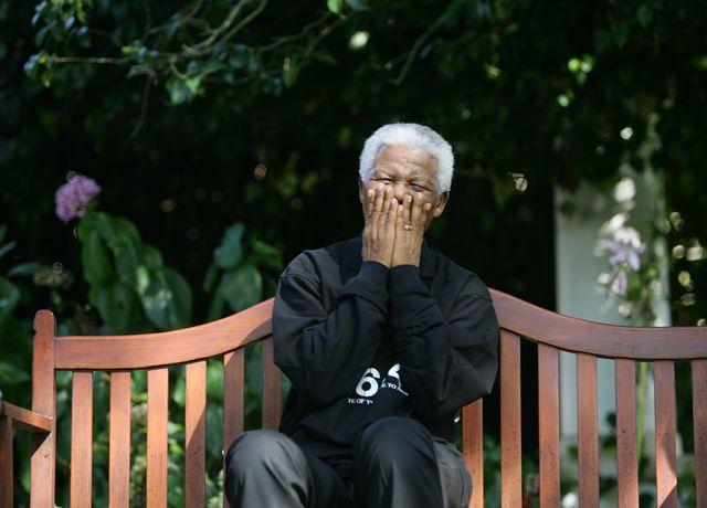 Nelson Mandela en 2005  à l'occasion d'un concert cartitatif