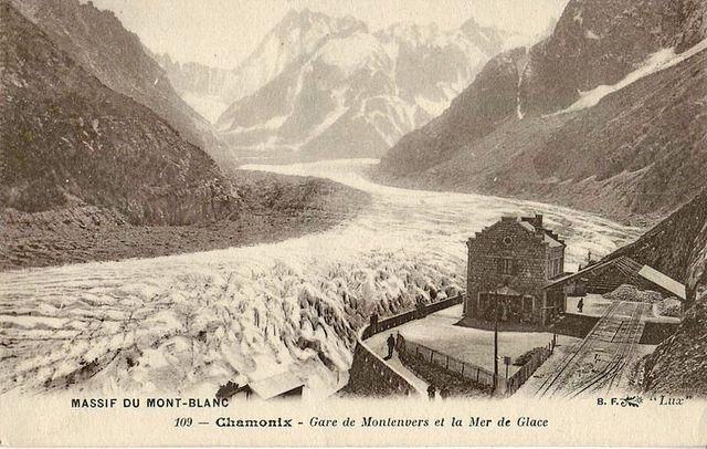 La mer de glace au niveau de la gare du Montenvers avant 1914