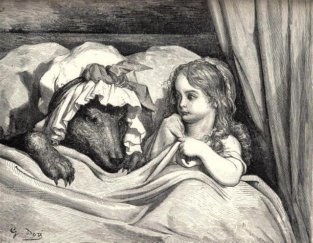 Le petit chaperon rouge et le loup - gravure de Gustave Doré - XIXème siècle