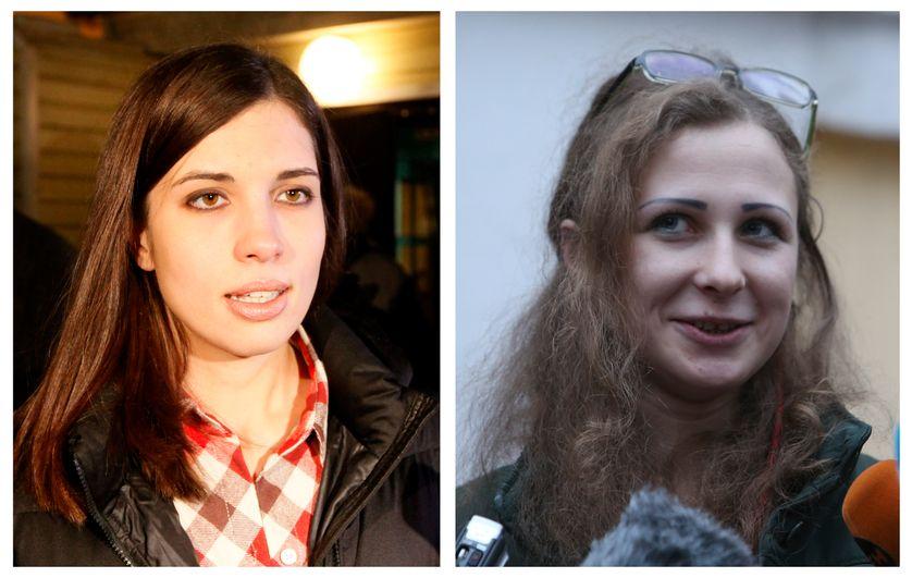 Nadezhda Tolokonnikova  à gauche et Maria Alyokhina  à droite