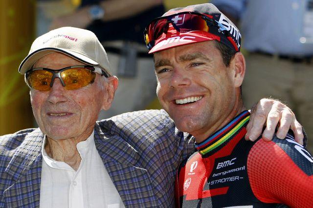 Robert Marchand et Cadel Evans sur le Tour de France en juillet 2013