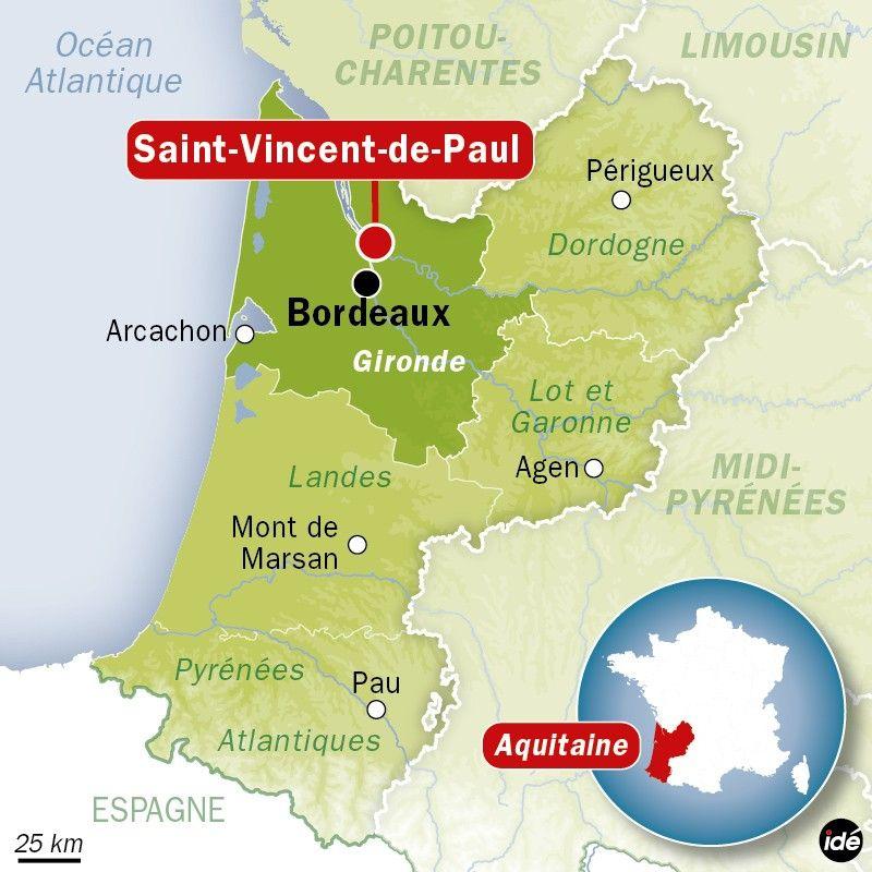 Carte de localisation de Saint-Vincent-de-Paul, en Gironde