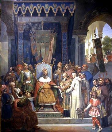 Charlemagne recevant Alcuin qui lui présente des manuscrits, ouvrage de ses moines - Jean-Victor Schnetz - 1830