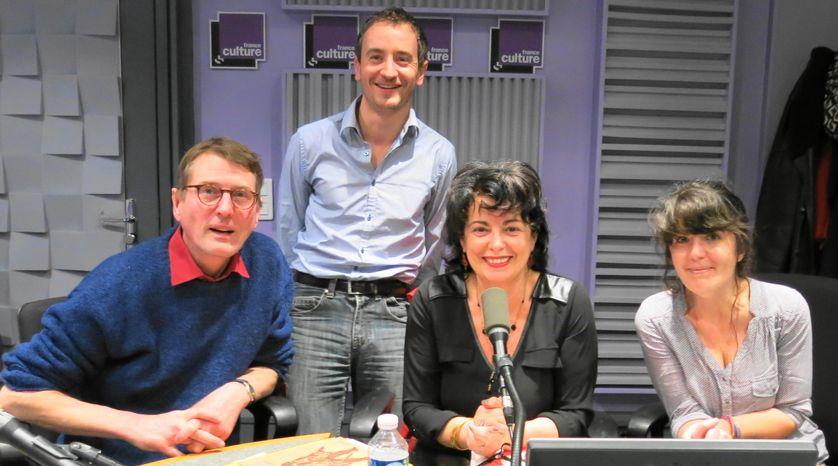 Extérieur pluie et dans notre studio à France Culture : Laurent Blin, Olivier Besson, Aline Pailler et Marjolaine Leray