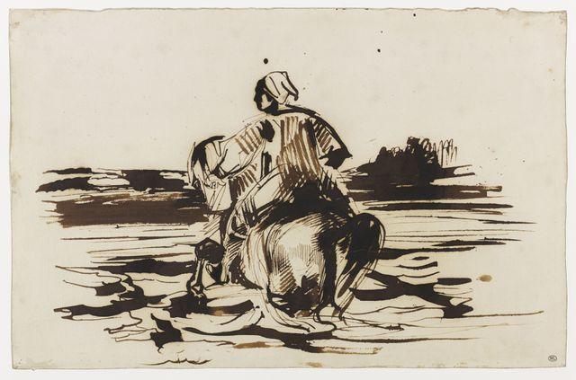 Delacroix-Cavalier arabe traversant un gué