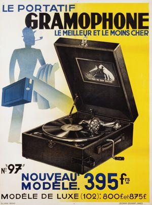 Publicité gramophone portatif