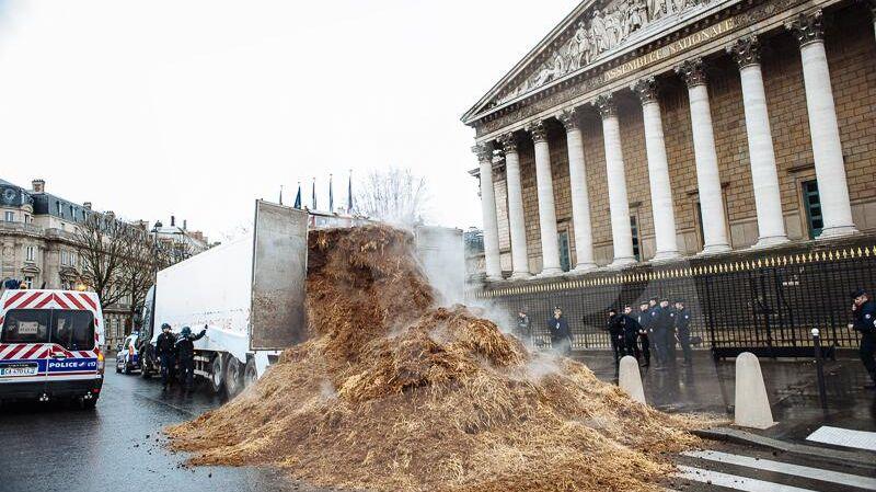 Plusieurs tonnes de fumier devant l'Assemblée Nationale