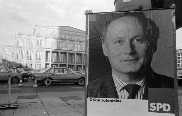 Affiche de campagne électorale d'Oskar Lafontaine à Leipzig - Novembre 1990