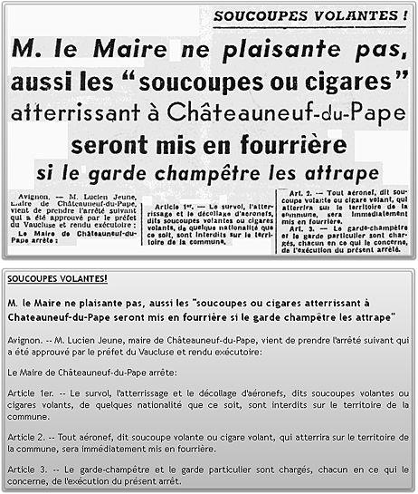 L'arrêté anti-OVNI de Châteauneuf-du-Pape