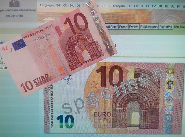 Ancien et nouveau billets de 10 euros