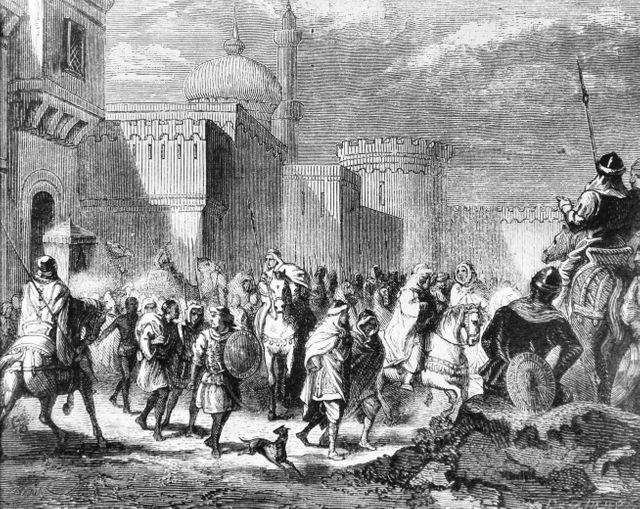 Les Musulmans sortant de Narbonne, rendue aux Francs par Pépin le Bref en 759 - gravure d'Emile Bayard - 1880