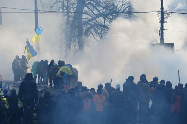 Kiev, en bas de la rue Grouchevski, principal point de contact entre manifestants et police