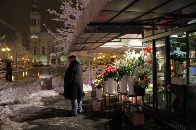 Zagreb sous la neige ce soir, proche de l'Institut français