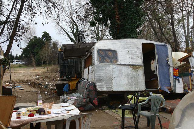 Destruction d'un camp de Roms à Perpignan le 9 janvier 2014