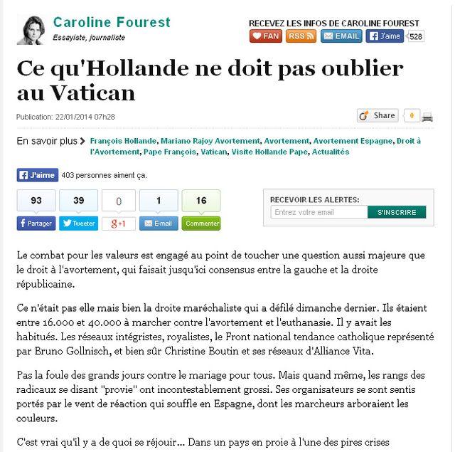 Capture d'écran - Huffington post