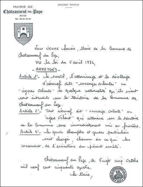 L'original de l'arrêté anti-OVNI de Châteauneuf-du-Pape