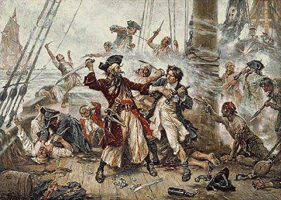 Duel entre le pirate Barbe-Noire et le lieutenant Maynard à Ocracoke, de Jean Leon Gerome FERRIS