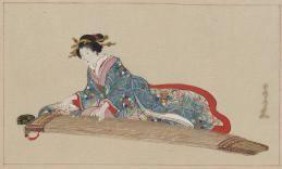 Estampe japonaise de femme jouant du koto (1878)