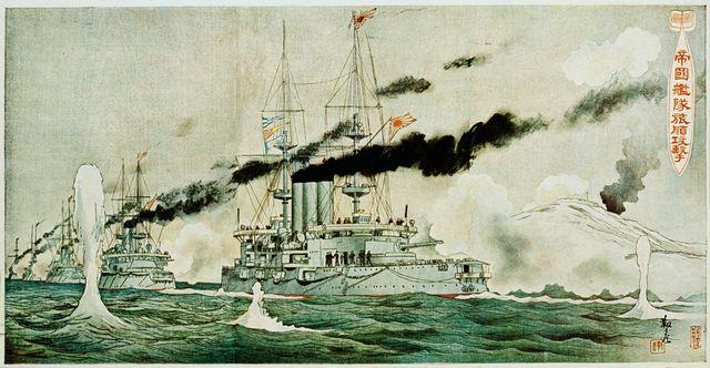 Estampe de bombardement à Port Arthur