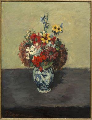 Paul Cézanne - Géraniums et Pieds d'aoulette dans un petit vase de Delft vers 1873 -Huile sur toile - Collection particulière,