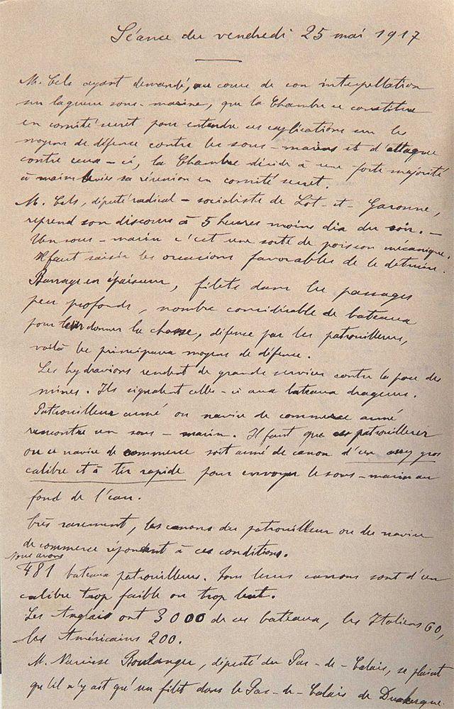 Notes prises par Georges Bonnefous de l'intervention de Jules Cels, nommé, en novembre 1917, sous-secrétaire d'État à la Marine