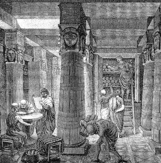 La grande librairie d'Alexandrie - gravure de O. Von Corven - XIXe siècle