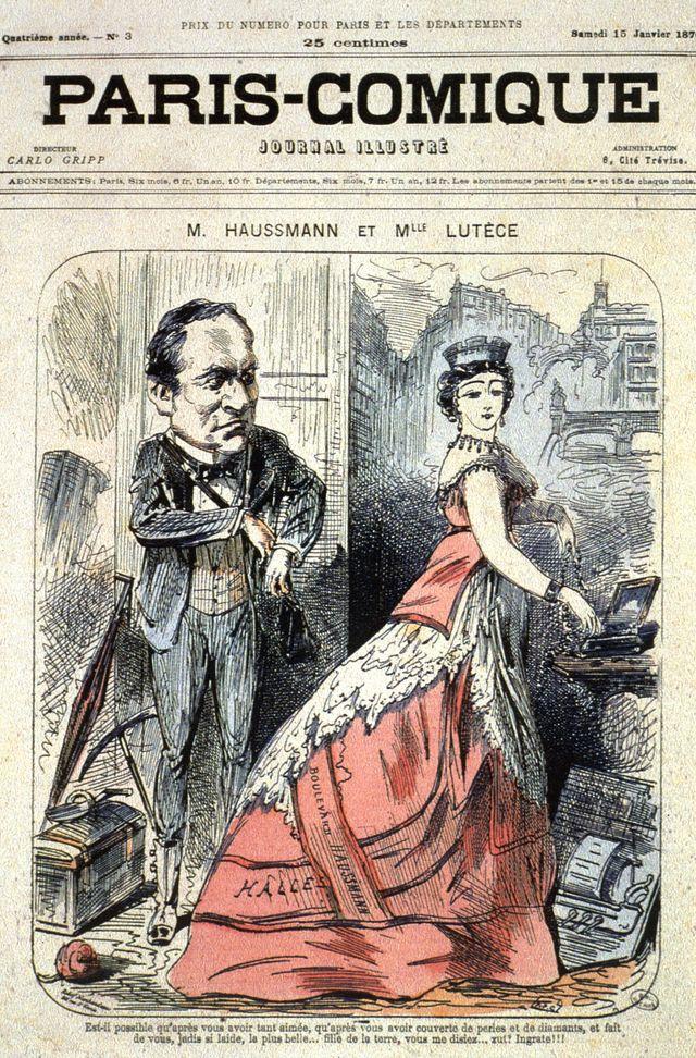 """""""M. Haussmann et Mlle Lutèce"""" - couverture du journal illustré """"Paris-Comique"""" du 15/01/1870"""