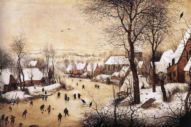 Paysage d'hiver avec patineurs et piège d'oiseau - Pieter Brueghel l'Ancien - 1565
